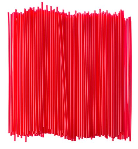 Crystalware, Large Plastic Stir Straw, Sip Stirrer, For Coffee and Cocktail, 8 Inches Long, 500/Box, (Red)