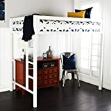 New Premium Deluxe Twin Metal Loft Bed in White Color