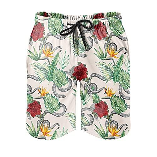 Gamoii Bañador para hombre, diseño de hojas tropicales, flores rojas, serpiente, bañador moderno con forro de malla, pantalones de chándal con bolsillos, color blanco, L