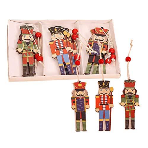 Tenglang 9PCS Weihnachtsbaumschmuck Nussknacker-Ornament Weihnachts-Walnusssoldat Holzanhänger Bunt bedruckter Holzanhänger Weihnachtsbaum-Weihnachtsfeier-Dekorationen