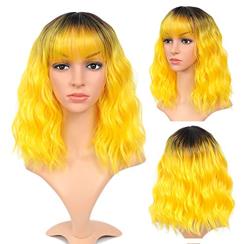 Ombre Yellow Wig for Women Short Bob Synthetic Wigs with Dark Roots Water Wave Hair Wigs Shoulder Length Synthetic Hair Wigs Short Curly Wavy Bob Wig Daily Cosplay Wig (14 Inch, Ombre Yellow)