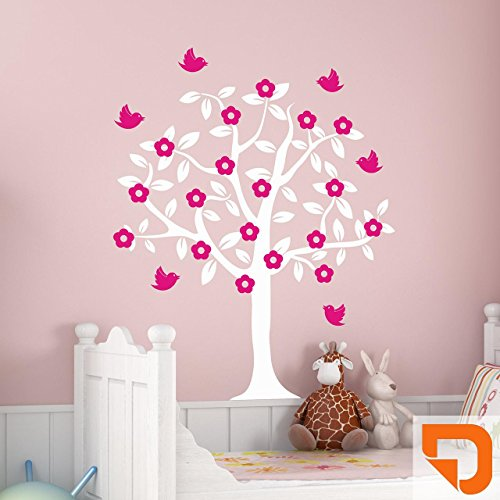 DESIGNSCAPE® Wandtattoo Baum mit Blüten und Vögeln 85 x 120 cm (Breite x Höhe) Farbe 1: hellrotorange DW808046-M-F19