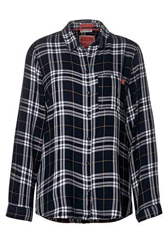 Street One Damen Karo-Bluse mit Hemdkragen Dark Blue 46