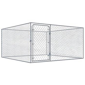 vidaXL Chenil Extérieur pour Chiens Acier Galvanisé 2x2x1 m Enclos Niche