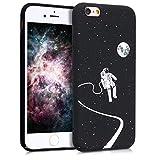 kwmobile Hülle kompatibel mit Apple iPhone 6 / 6S - Handy Hülle Handyhülle - Backcover Hardcover Cover Schutzhülle - Astronaut Mond Weiß Schwarz