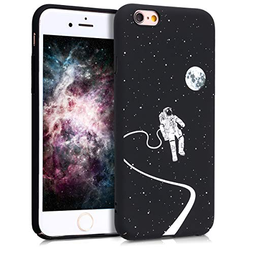 kwmobile Cover Compatibile con Apple iPhone 6 / 6S - Custodia Rigida in plastica Dura - Hard Case Back Cover Protettiva per Smartphone - L'astronauta e la Luna Bianco/Nero