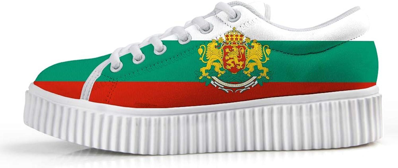 Owaheson Platform Lace up Sneaker Casual Chunky Walking shoes Low Top Women Bulgarian Flag National Emblem