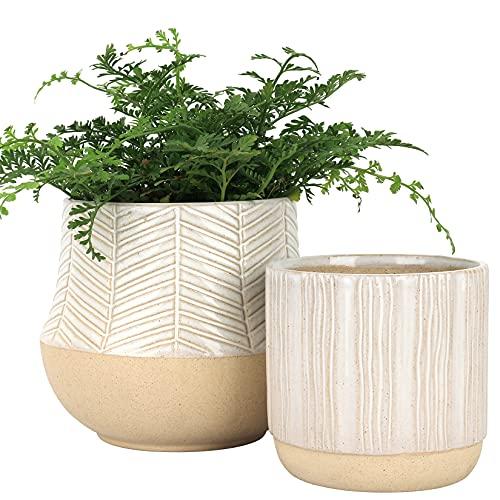 LA JOJIE MUSE Set di vasi in ceramica con piedini per interno, vaso da tavolo con fondo smaltato a sabbia, foro di drenaggio incluso, regalo decorazione per la casa, terracotta, 15,5 cm + 11,8 cm