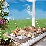 猫ハンモック 猫の窓ソファ 猫窓枠座り台 改善強化吸盤タイプ 昼寝用 ストレス解消 日光浴 細菌ダニ駆除 取り付け簡単 繰り返し洗濯 耐荷重(15KG) 取り付け簡単