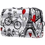 Bolsa de maquillaje con diseño de torre, diseño de globo de París, para mujer, para el cuidado de la piel, neceser práctico bolso de mano con cremallera
