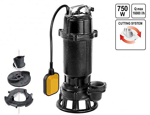 Gartenwasserpumpe Tauchmotorpumpe 750W 16000 L/Std Schmutzwasserpumpe Güllepumpe Jauchepumpe