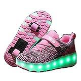 Zapatillas con Ruedas,Niños y Niña LED Luces Zapatos Luminosas Flash Rueda Automática Zapatos de Skateboarding Aire Libre y Deporte Gimnasia Patines Sneakers con USB Carga