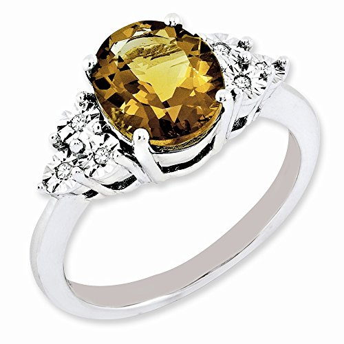 925 Sterling Silver Diamond Oval Whiskey Quartz Band Ring Size 7.00 Gemstone Fine Jewelry For Women...