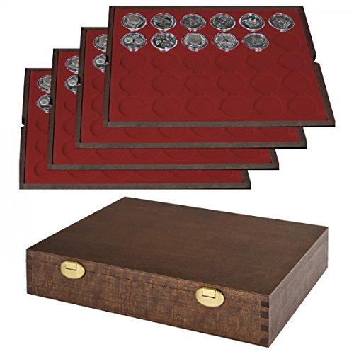 LINDNER Echtholz Münzkassette mit 4 Tableaus für 120 Münzkapseln mit Außen-Ø 37 mm, z.B. für Orig. verkapselte deutsche 20 Euro-/10 Euro-Silbermünzen in Spiegelglanz - Sonderedition