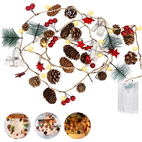 Christmas Pine Cones Fairy String Light, CestMall 2M 20LED Christmas Decorative Red Berries Garland Battery Operated Warm White Night Light for Festivals, Winter Holiday, Parties, DIY Home Decoration