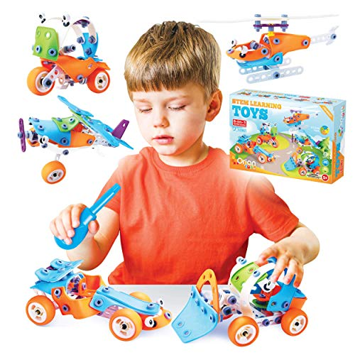 Orian Toys 5 in 1 STEM Learning Toys for Boys and Girls, Best IQ Builder STEM Learning Toys Creative Construction Engineering for Kids 5-11 years old, DIY Building Kit, 132 Pieces, Play Set - Gift Box
