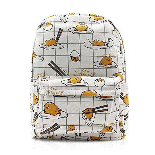 Finex Gudetama Lazy Egg Yolk White Canvas Casual Daypack with 15 in Laptop Storage Compartment