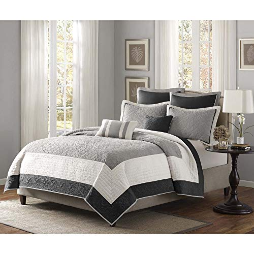 Traditional Cotton Polyester 7 Piece Patchwork Quilt Coverlet King/Cal King Set, Cottage Country Soft Bedding Damask Floral Inspired Theme Design Grey Black White Coverlet Set, Season