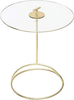 WZHZJ Round Table d'or, Tables Basses en Verre trempé Round Top dîner Side Maison Ovale Mobilier de Salon