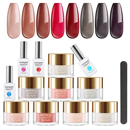 Lavender Violets Fast-Dry-Dip-Powder-Nail Kit of 8 Colors Rapid Dry Nude Pink Red Acrylic-Dipping Powder System with Nail File J748
