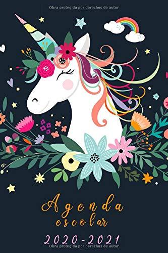 Agenda escolar 2020-2021: Agendas escolares para estudiantes +calendario 2020-2021 unicornio,Planificadora diaria y mensual,color negro ,primaria Colegio secundaria estudiante.niño y niña