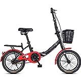NENGGE 16' Vélo Pliant, Adulte Hommes Femmes Étudiant Léger Bicyclette, Acier Haute Teneur en Carbone Micro - Vélo Pliante, Vélo de Ville Pliant,Rouge