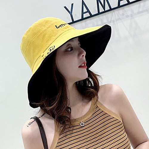 JXFM Sunshade hoed dames street beat smiley gezicht visser hoed katoen en linnen dubbelzijdig grote wastafel hoed tij