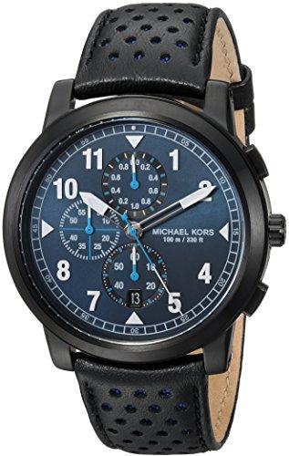 Michael Kors Men's Paxton MK8547 Black Leather Japanese Quartz Fashion Watch