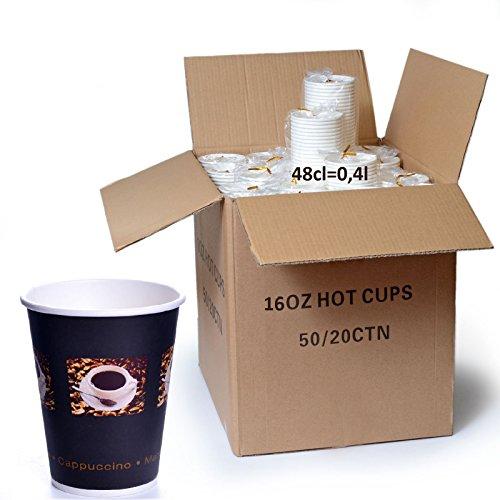1000 x Coffee to go Becher 48 cl Bean Hartpapierbecher 0,4l Kaffeebecher 400ml Pappe