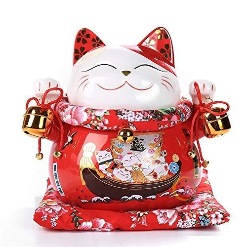 Maneki Neko 10 pulgadas de cermica de Maneki Neko de la fortuna, gato de porcelana decoracin del hogar Adornos afortunada linda del gato del dinero de la caja de Fengshui manualidades ( Color : A )