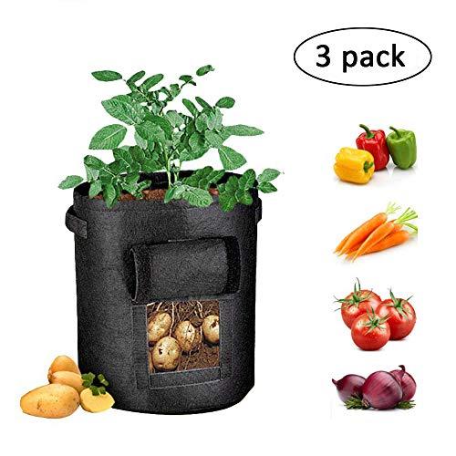 Pflanzsack, Zilong 7 Gallon Vliesstoff Pflanzbeutel mit Henkeln für Kartoffeln, tomaten, Gemüse, Kräute, 35*28cm,3Stück