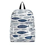 Mochila para ordenador portátil, mochila escolar con diseño de tiburón, vida marina, ideal para portátiles de 15,6 pulgadas