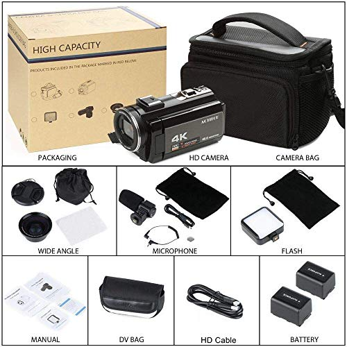 4K Camcorder, ACTITOP Video Camera 48mp Full HD 1080p WIFI IR Night Vision 16X Digital Zoom Video Camcorder with External Microphone, Wide Angle Lens,LED Video Light and Camera Bag