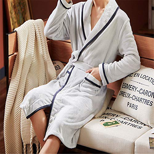 Camisón invierno coral terciopelo pareja pijama engrosamiento plus largo albornoz gris XL