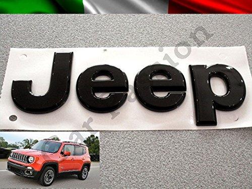 Scritta Stemma Logo Jeep Renegade Cherokee Grand Cherokee Compass Anteriore Originale nero Front Badge Emblem