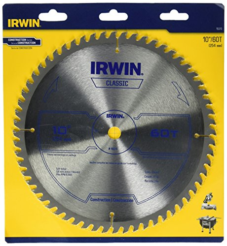 IRWIN Tools Classic Series Carbide Table / Miter Circular Saw Blade, 10-Inch, 60T (15370)