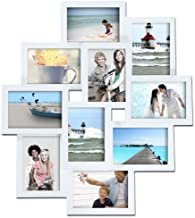 Adeco PF0172 Decorative Wood Wall Hanging Collage Picture Photo Frame, 10 Openings of 3.5x5, White