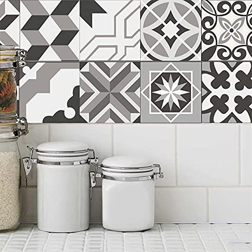 azulejos adhesivos cocina,20 piezas de pegatinas de azulejos de renovación de bricolaje para el hogar, pegatinas de suelo para baño y cocina pegatinas de azulejos impermeables -20cm