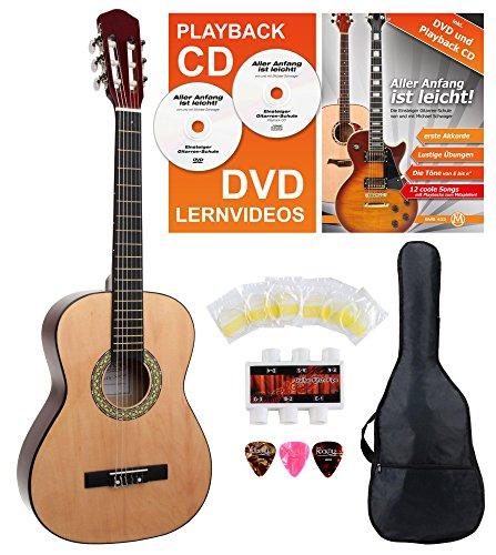 Classic Cantabile AS-851 3/4 concertgitaar starterset (complete beginnerset met klassieke gitaar, Gigbag tas, nylon snaren, lesboek/school incl. CD en DVD, 3x plectra en stemfluit)