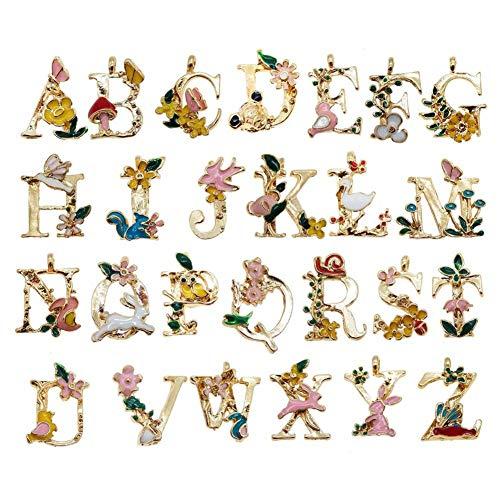 26 pcs en alliage Pendentif Perles lettres de l'alphabet A-Z lettres Charms Fleur Animal Décoration pour fabrication de bijoux Bracelet Collier Collier Keychain Craft Accessoires