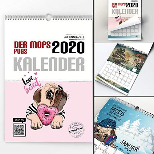 Mops Kalender 2020 - pug Hund calendar Terminplaner Jahreskalender - mit Feiertagen 2020 (Din A4 hoch) (Mops A4-2020)