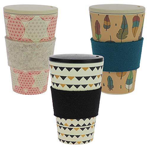 ebos 3er-Set Bambus Coffee-to-Go-Becher | Schraubdeckel, Wollfilz-Griffring, Kaffee-Becher, wiederverwendbar, umweltfreundlich, spülmaschinengeeignet (Gardenparty, Zauberfeder, Blume des Lebens))