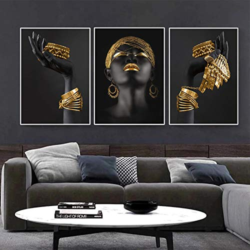 Nativeemie Impresión HD Mujer Africana Art Pared Pintura Art Carteles Impresiones Gran Mujer Negra sosteniendo Joyas Oro Lienzo imag Decor para el hogar 20x30cm / 7.8'x11.8 X3 Marco Interno