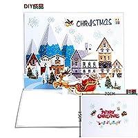 1個/5個/10個/20個 クリスマス休暇 新年のクリスマスカード 3Dの手作りのペーパーカットメッセージギフト ウィッシュカード AB484 (AB513F,1個)
