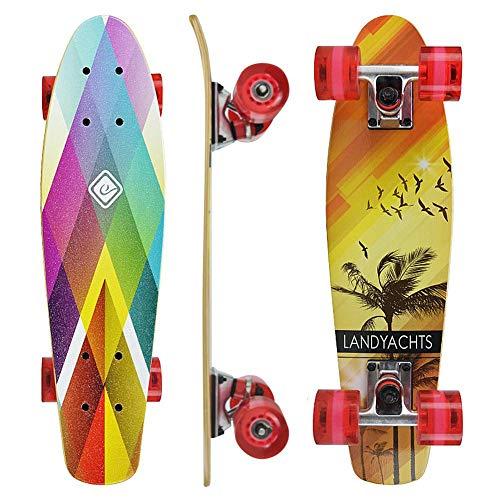 Penny Board,Skateboard 22 Zoll Mini Cruiser Retro Stil In M Rollen Komplett U Fertig Montiert Mit 4 Rädern 7 Layer Maple Deck Penny Board Für Kinder Anfänger