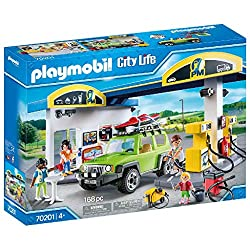 Fun in the city: Playmobil Fuel Station, Playset with figures and many accessories for detailed re-enactments 4 figures, Fuel station with shop, off-road vehicle with removable roof, Can be combined with Car Repair Garage (70202 sold separately) Play...