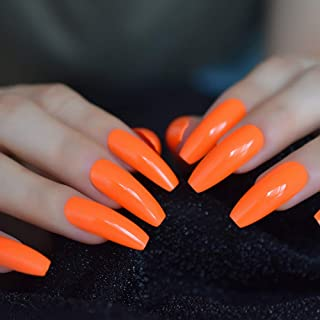 CoolNail Fashion Solid Color Neon Orange Extra Long Ballerina Coffin UV False Nails Flat Finger Fake Nail Press on Party Salon Nail Art