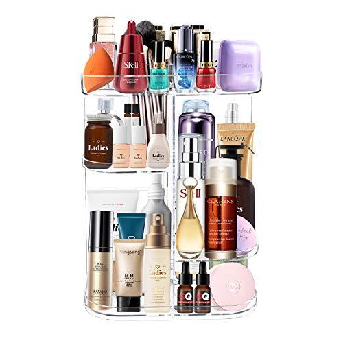 Organizador de Maquillaje Giratorio, Giratorio de 360 Grados con 4 Bandejas Ajustables, 7 Capas Gran Capacidad para Perfumes Cosméticos, Caja de Soporte para Dormitorio, Baño, Forma Cuadrada (Transparente)