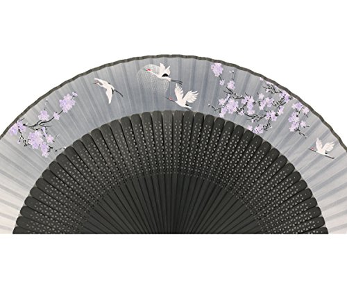 "Wise Bird Chinese Fan Japanese Folding Hand Fan, Vintage Retro Style Fan 8"" Bamboo/Wood/Sandalwood Fan, Silk Fan Purse Fan, Wedding Favors, Home Decor Fan with Sleeve/Embroidery Tassel - F541"