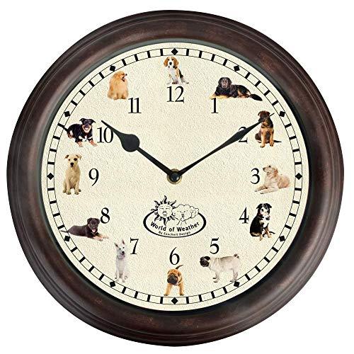 Esschert Design Uhr mit Hundegeräuschen Ø 30 cm, Wanduhr mit Sounds, Kunststoff